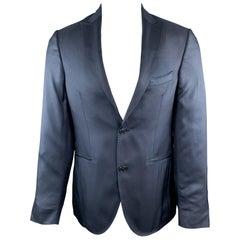 ETRO Size 38 Navy Silk Peak Lapel Sport Coat