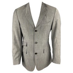 ETRO Size 38 Regular Gray Stripe Wool / Mohair Notch Lapel Suit