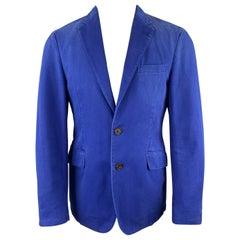 ETRO Size 38 Royal Blue Distressed Cotton Notch Lapel Sport Coat