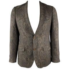 ETRO Size 40 Brown Paisley Wool / Silk Notch Lapel Sport Coat