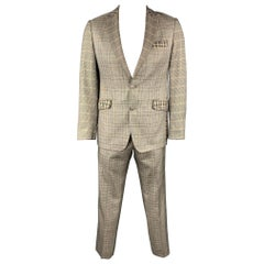 ETRO Size 40 Brown Plaid Silk / Wool Peak Lapel Suit