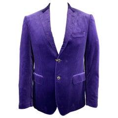 ETRO Size 40 Purple Solid Velvet Notch Lapel Sport Coat