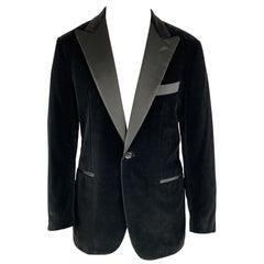 ETRO Size 40 Regular Black Cotton Velvet 34 x 36 Peak Lapel Tuxedo Suit