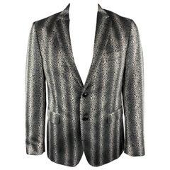 ETRO Size 42 Black & Grey Paisley Jacquard Polyester Notch Lapel Sport Coat