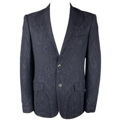 ETRO Size 44 Navy Paisley Wool / Cotton Notch Lapel Sport Coat