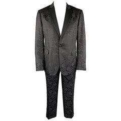 ETRO Size 46 Black Paisley Wool / Silk Satin Peak Lapel Tuxedo