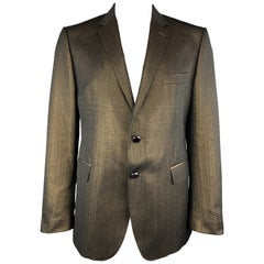 ETRO Size 46 Dark Gold Metallic Textured Notch Lapel Sport Jacket