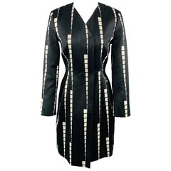 ETRO Size 6 Black & White Geometric Stripe V Neck PLeat Skirt Coat