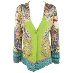 ETRO Size 6 Green Paisley Silk Knit Single Button V Neck Cardigan