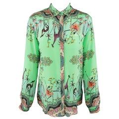 ETRO Size 6 Turqouise Green Paisy Bird Print Silk Blouse