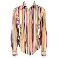 ETRO Size 8 Multi-Color Poplin Stripe Cotton Button Up Blouse