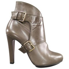ETRO Size 9 Olive Taupe Green Leather Harness Platform Booties