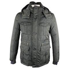 ETRO Size L Black Paisley Print Polyester Down Filled Detachable Hood Jacket