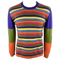 ETRO Size L Multi-Color Stripe Cashmere Crew-Neck Pullover Sweater