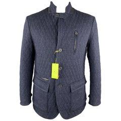 ETRO Size L Navy Quilted Cotton Blend Notch Lapel Patch Pockets Jacket