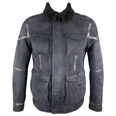 ETRO Size L Navy Suede Shearling Collared Zip & Snaps Jacket