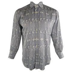 ETRO Size L Navy & White Print Cotton Long Sleeve Shirt