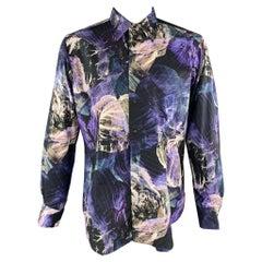 ETRO Size L Print Black & Purple Cotton Button Up Long Sleeve Shirt