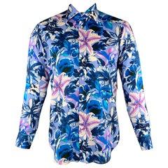 ETRO Size M Blue & Lavender Floral Cotton Button Up Long Sleeve Shirt