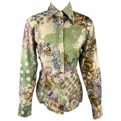 ETRO Size M Green Floral Print Cotton Blouse