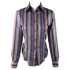 ETRO Size M Purple & Green Striped Cotton Blouse