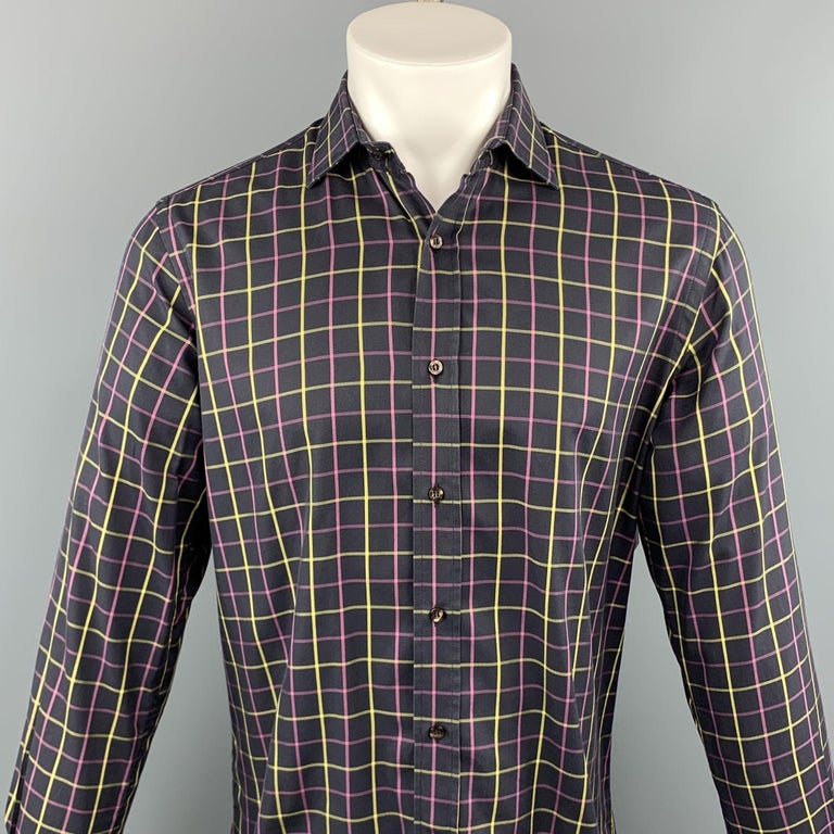 ETRO long sleeve shirt comes in a black and purple plaid cotton featuring a button up style and a spread collar. Made in Italy.   Excellent Pre-Owned Condition. Marked: 40   Measurements:   Shoulder: 17 in. Chest: 44 in. Sleeve: 26.5 in. Length: