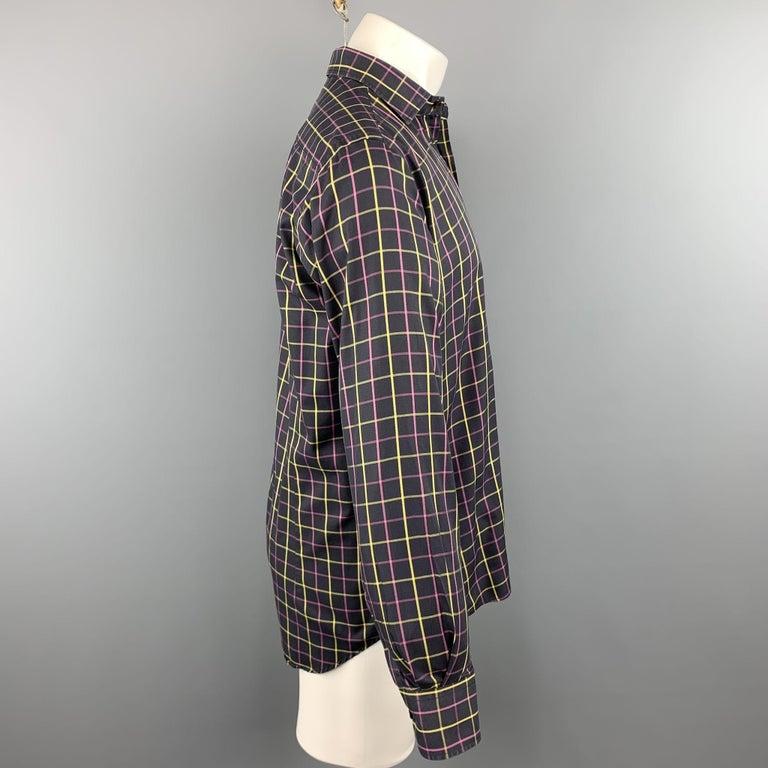 Black ETRO Size M Purple Plaid Cotton Button Up Long Sleeve Shirt For Sale
