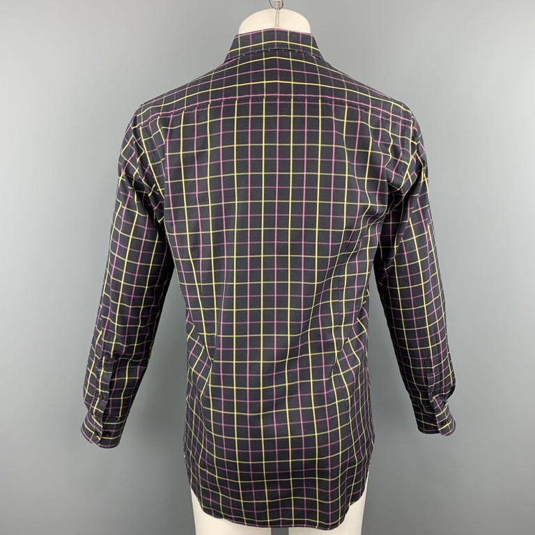 ETRO Size M Purple Plaid Cotton Button Up Long Sleeve Shirt In Excellent Condition For Sale In San Francisco, CA