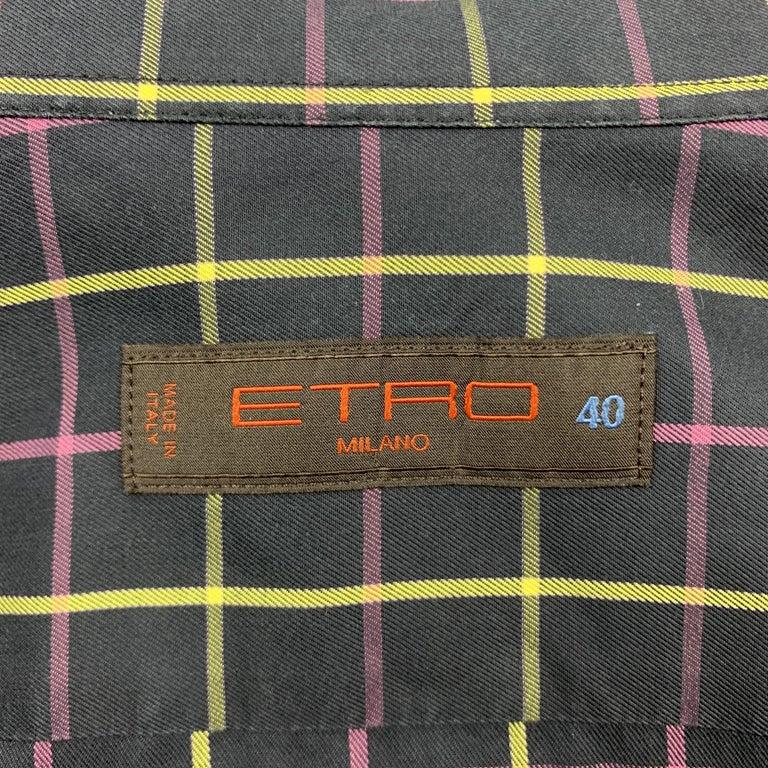 Men's ETRO Size M Purple Plaid Cotton Button Up Long Sleeve Shirt For Sale
