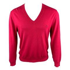 ETRO Size M Raspberry Cotton Blend V-Neck Pullover