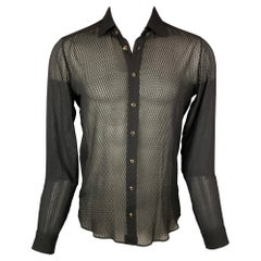 ETRO Size S Black See-Through Silk Button Up Long Sleeve Shirt