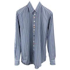 ETRO Size S Blue & Green Stripe Cotton Button Up Long Sleeve Shirt