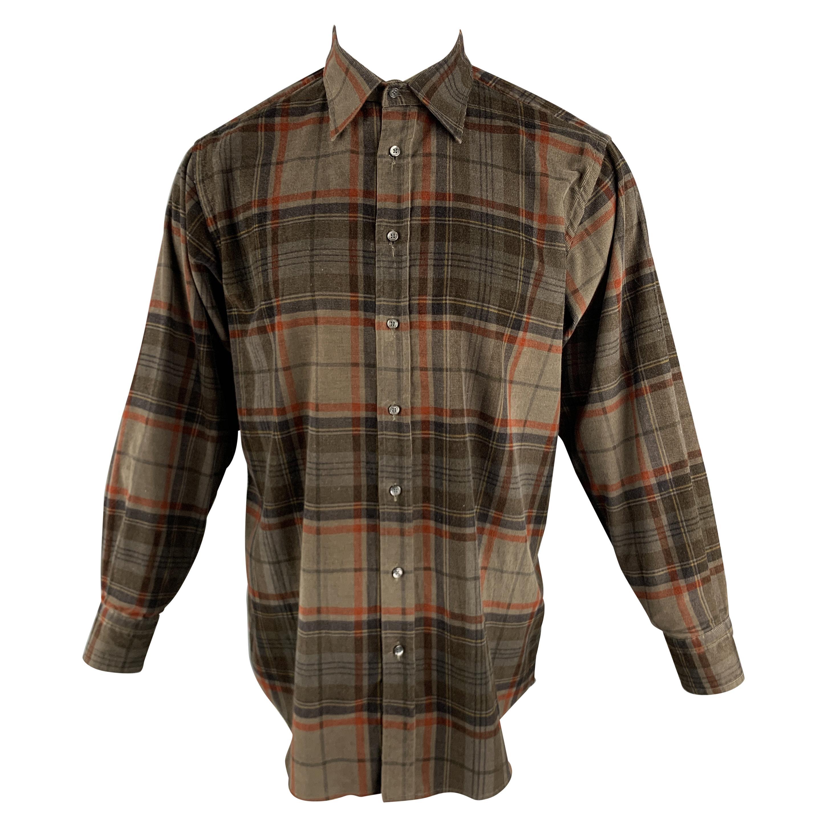 ETRO Size S Brown & Orange Plaid Corduroy Button Up Long Sleeve Shirt