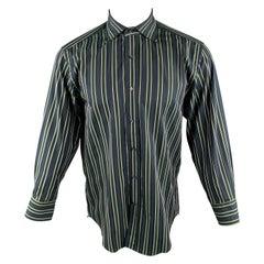 ETRO Size S Navy & Green Stripe Cotton Button Up Long Sleeve Shirt