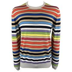 ETRO Size XL Multi-Color Stripe Cotton Crew-Neck Pullover Sweater