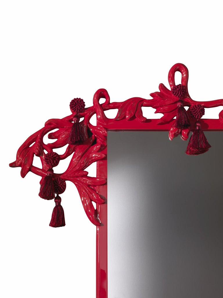 Italian Etro Small Nymph Natural Mirror in Red For Sale