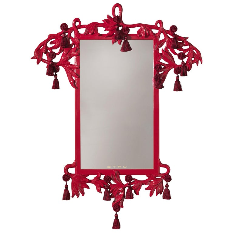Etro Small Nymph Natural Mirror in Red For Sale