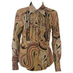Etro Tan, Black & Pink Cotton Paisley Ruffled Tuxedo Blouse w/ Velvet Accents