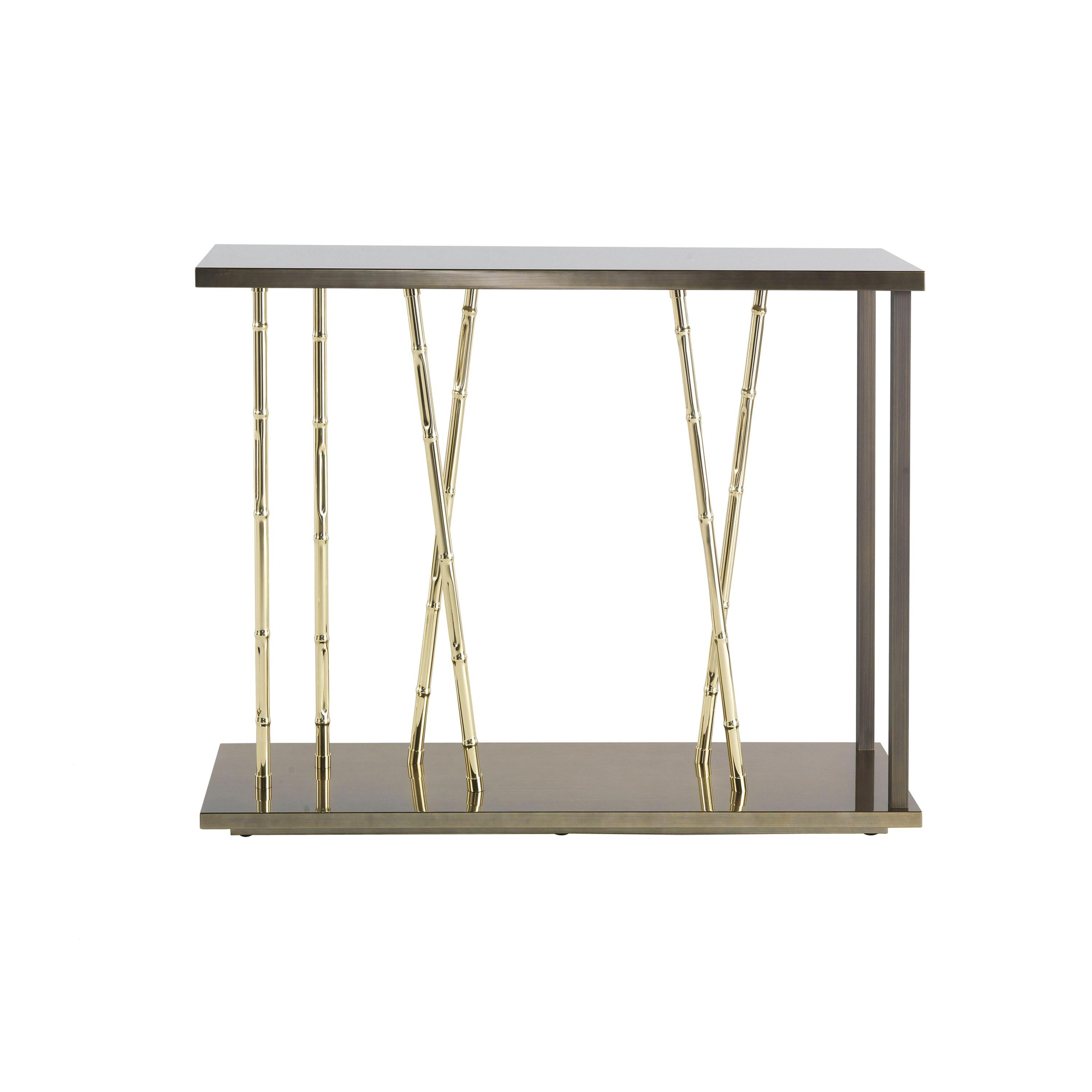 Etro Home Interiors Taxila Console in Bronze Metal and Lacquer Wood