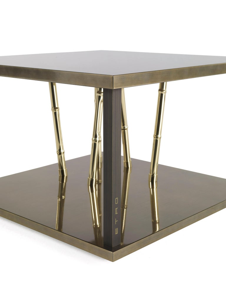 Modern Etro Home Interiors Taxila Small Table in Wood and Metal For Sale