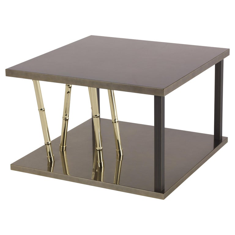 Etro Home Interiors Taxila Small Table in Wood and Metal For Sale