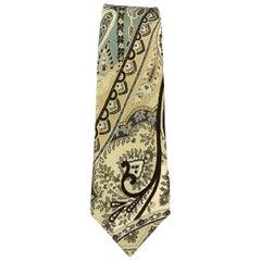 ETRO Teal & Beige Paisley Silk Skinny Tie