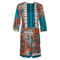 Etro Teal & Orange Paisley Printed Silk Shift Dress M