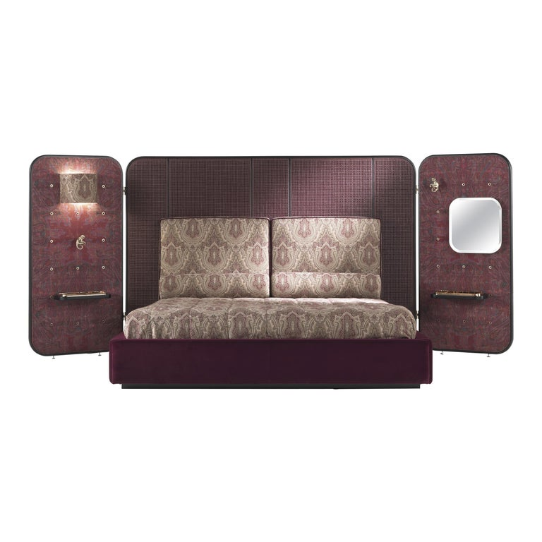 Etro Timgad Bed in Wood and Paisley Print For Sale