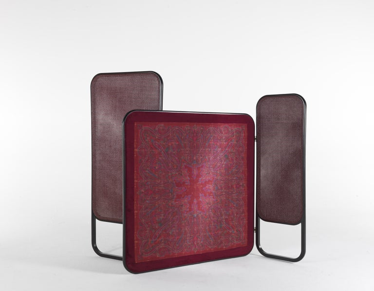 Italian Etro Timgad Screen in Wood and Fabric For Sale