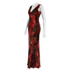 Etro Velvet Red Floral and Paisley Gown