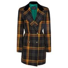 Etro Velvet Trimmed Checked Wool Blend Blazer