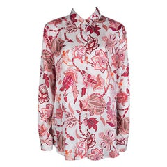 Etro White Floral Printed Silk Long Sleeve Button Front Shirt L