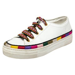 Etro White Leather Stripe Detail Sneakers Size 39