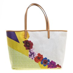 Etro White Paisley and Floral Printed Coated Canvas Shopper Tote